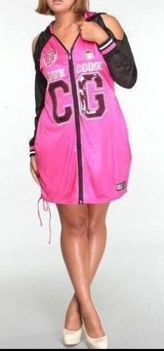 Coogi Pink Sports Jersey Dress Cold Shoulder Hooded Long Tunic Mesh ...