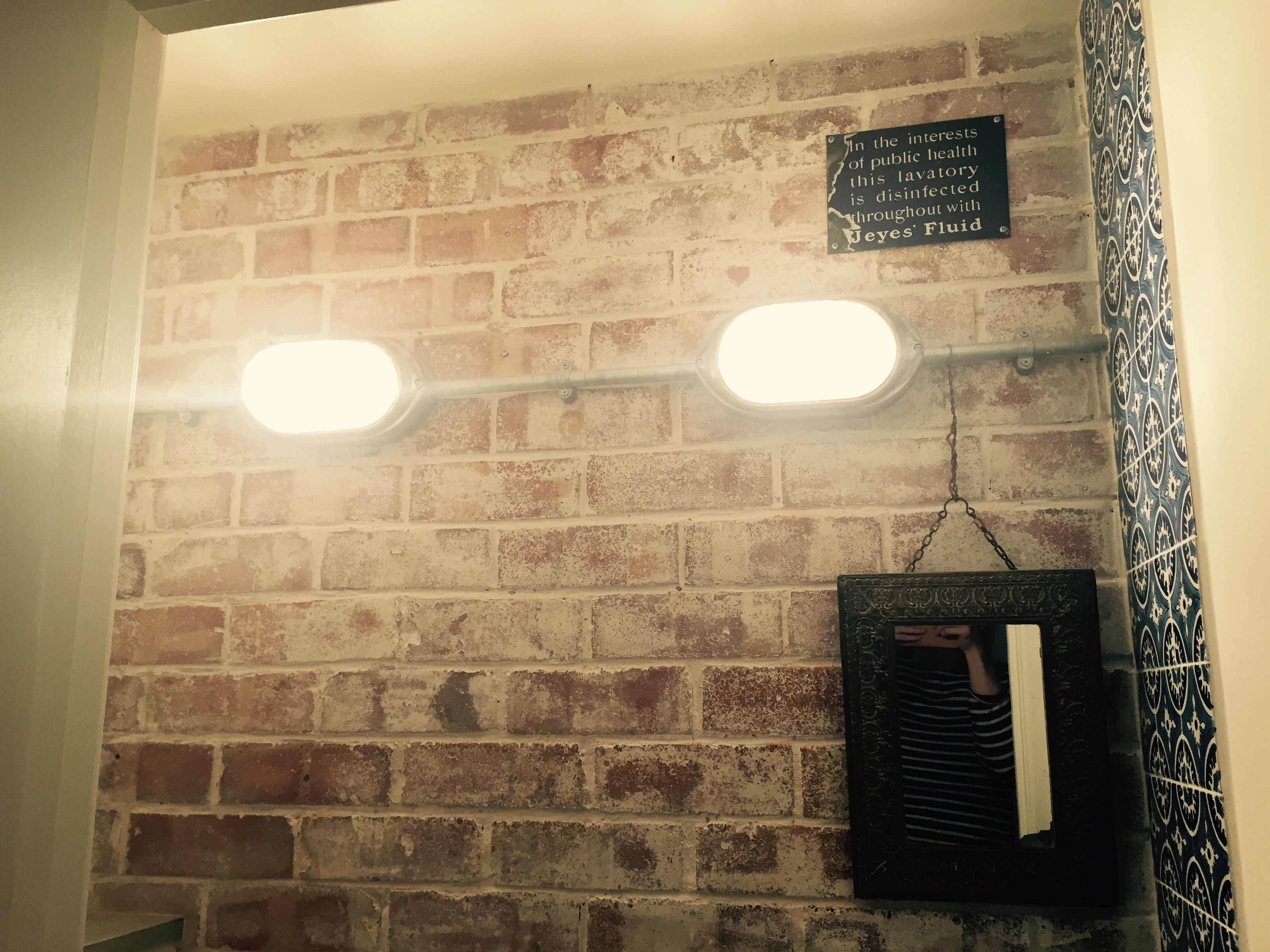 Whitewashed exposed brick wall galvanised conduit lighting coughtrie ...