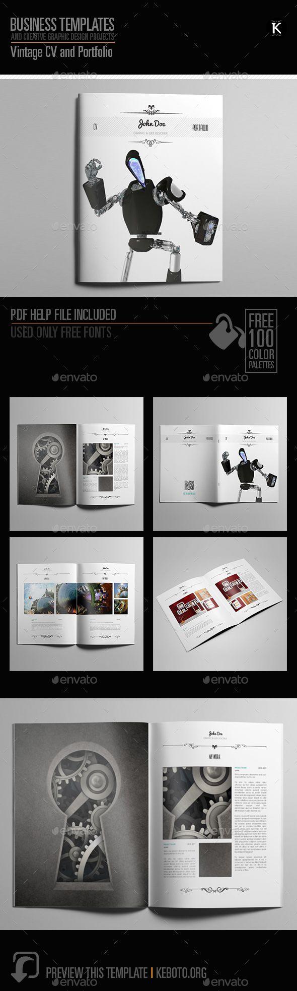 Vintage CV and Portfolio   Adobe indesign, Adobe and Simple resume ...