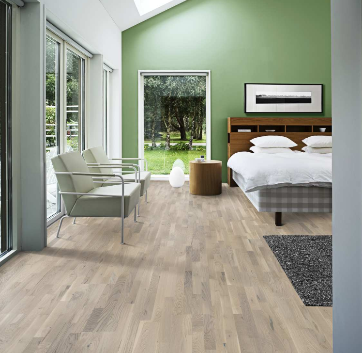 The Kahrs Oak Karlstad Is A 3 Strip Engineered Wood Floor With A Unique Stain That Ties In Close In 2020 Engineered Wood Floors White Oak Floors Wood Floors