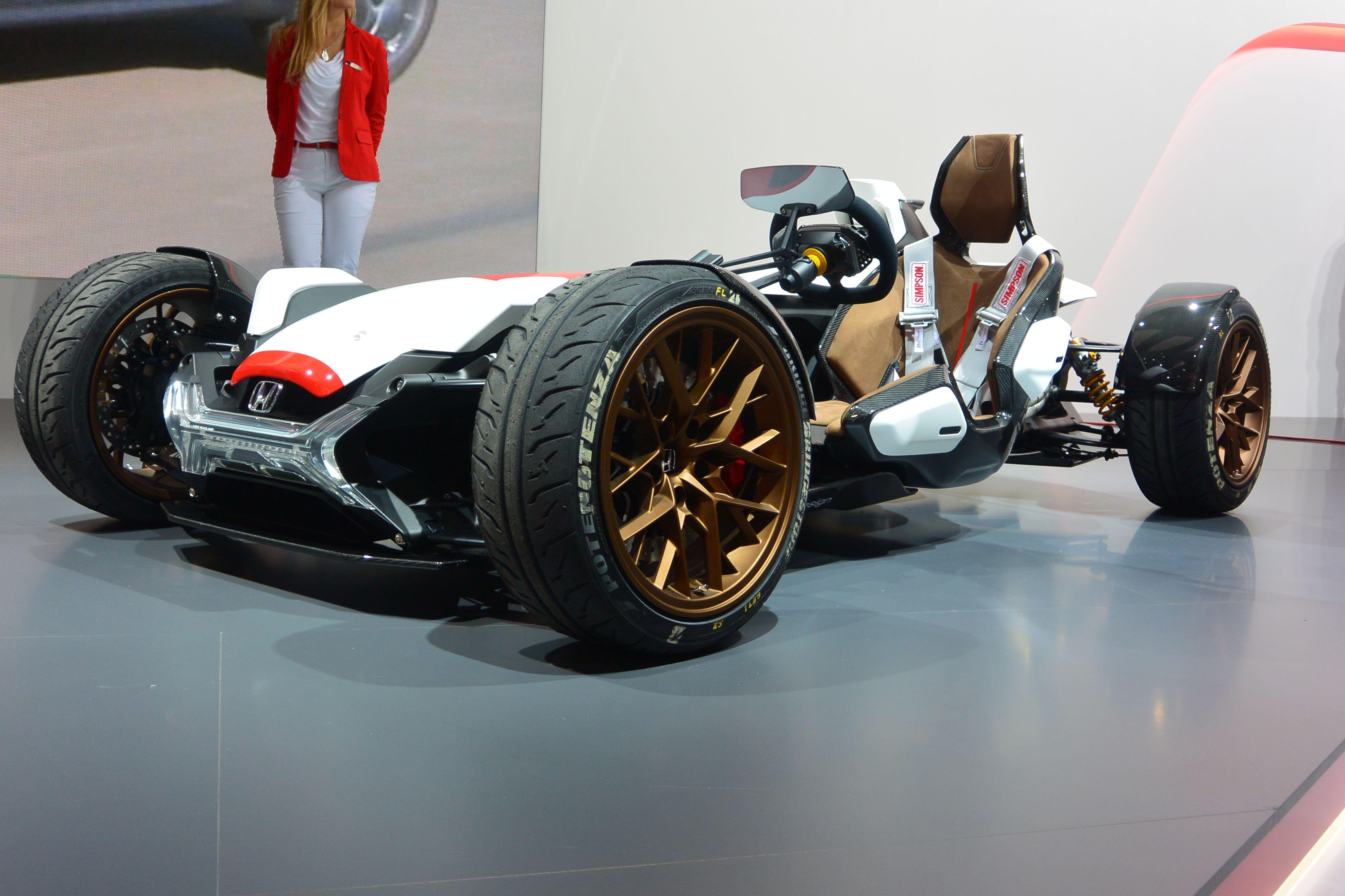 Honda Project 2&4 concept is half a car, half a bike. It debuted at IAA Frankfurt 2015.