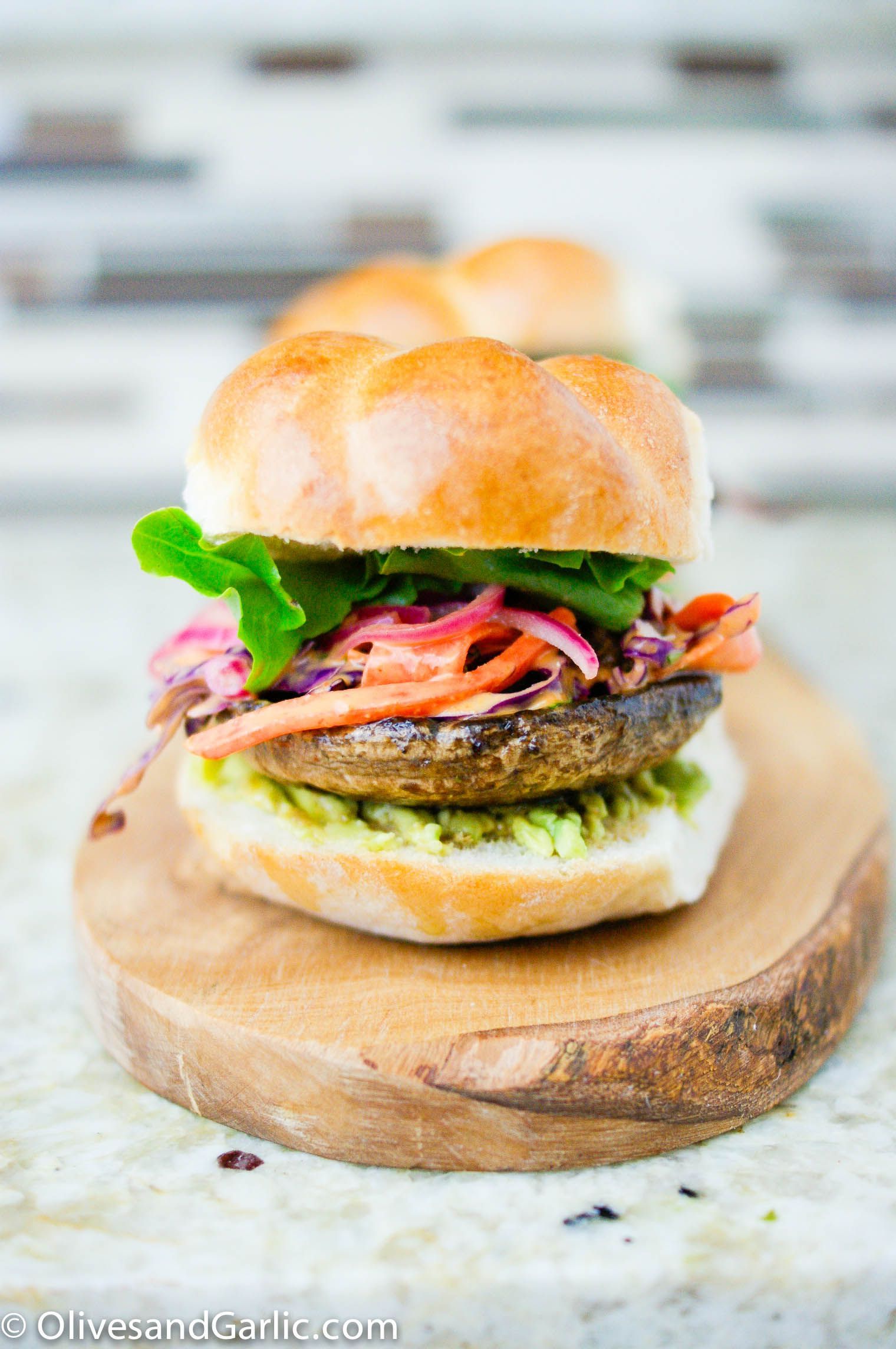 Portobello burgers with spicy slaw & pickled onions