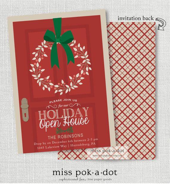 Delightful Open House Christmas Party Ideas Part - 4: Holiday Open House Party Invitation Christmas Door By Misspokadot