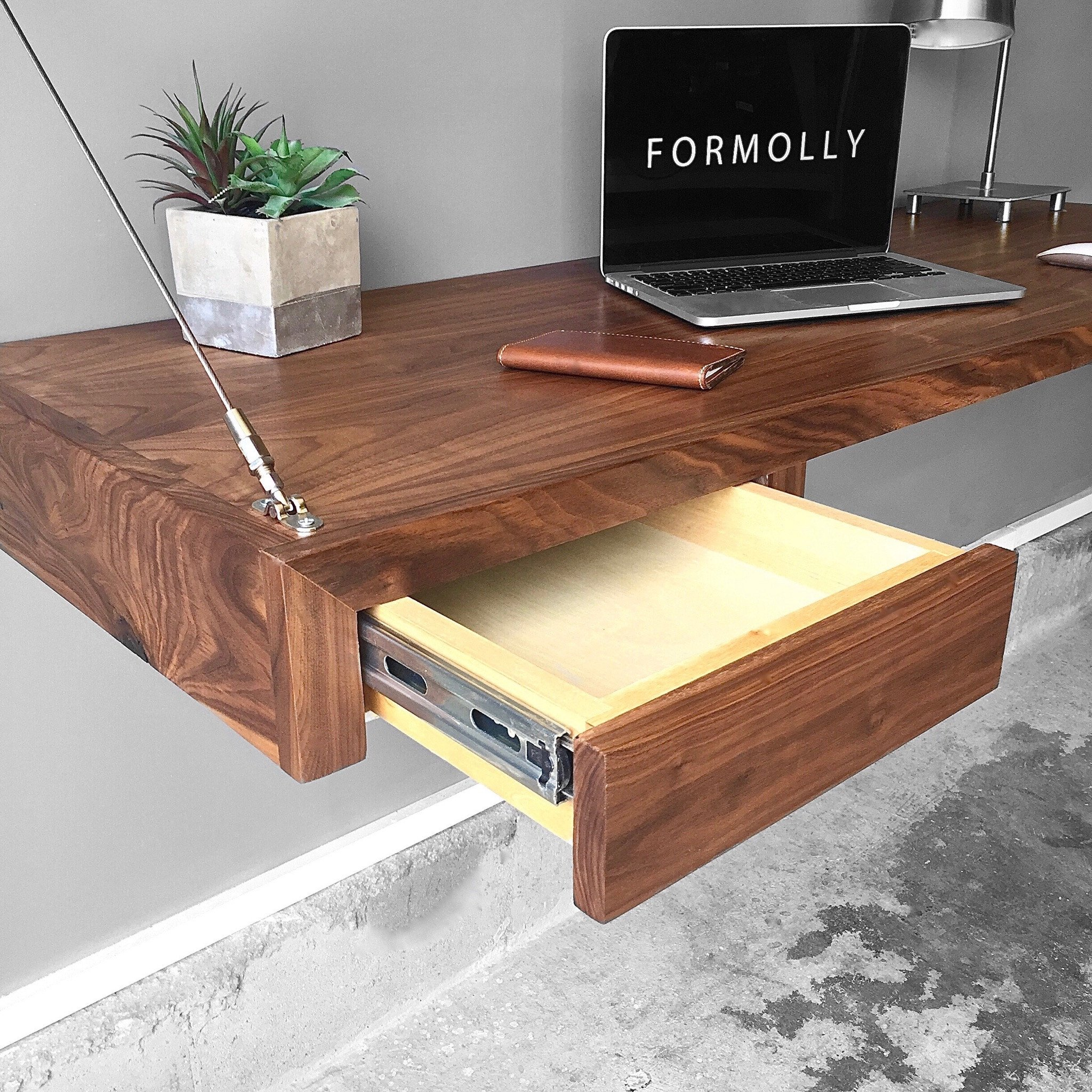 Maximize Your Workspace With The Walnut Floating Desk With Storage By Formolly Treat Yourself With A Space That In Floating Desk Attic Renovation Desk Storage