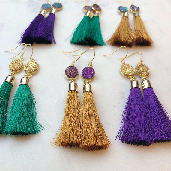 Purple tassel earrings Fringe earrings Long tassle earrings Festival earrings Violet gold jewelry Silk bridesmaid earrings Handmade earrings