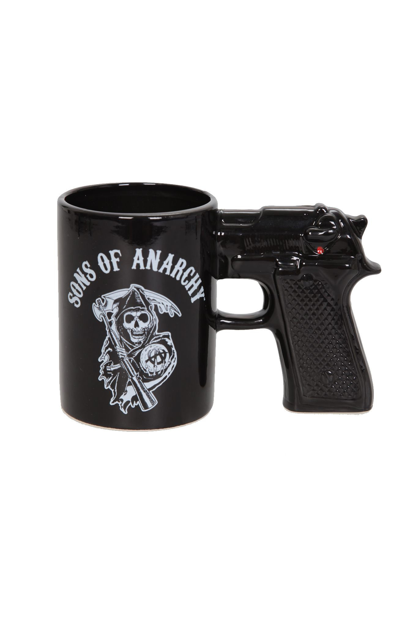 This 15 oz ceramic mug with gun shaped handle features Sons