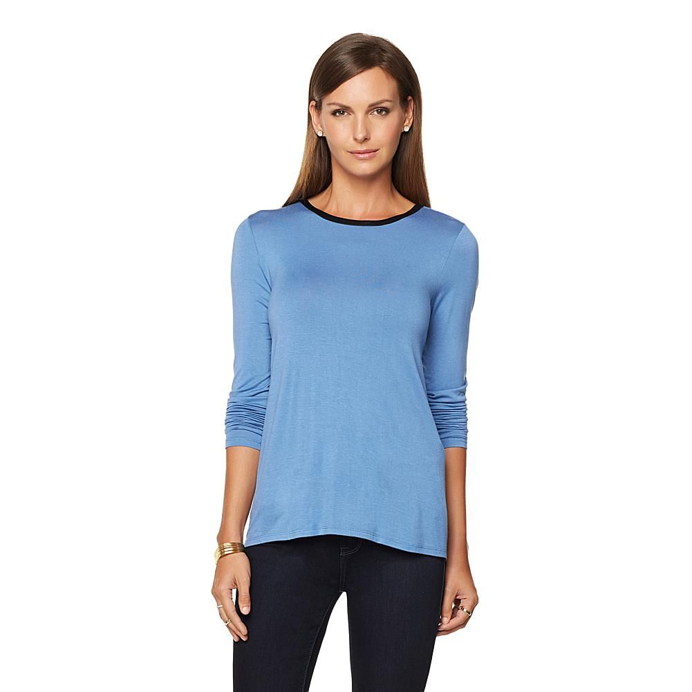 G by Giuliana Long-Sleeve Top with Ultra Luxe Trim - Riverside Blue