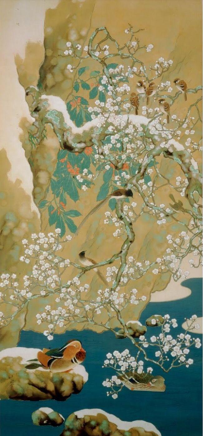 Birds and Flowers of Four Seasons. Winter. Araki Jippo. 1917. Yamatane Museum of Art
