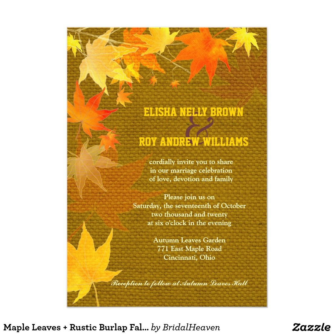 Maple Leaves + Rustic Burlap Fall Wedding Card   Burlap, Wedding ...