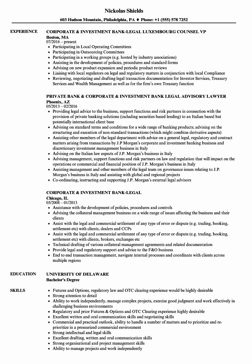 In House Counsel Resume Elegant Corporate Investment Bank Legal Resume Samples Engineering Resume Resume Examples Resume