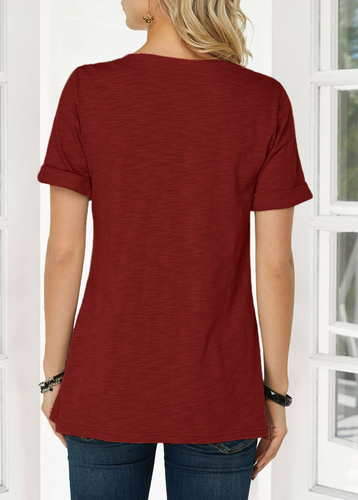 Wine Red Button Detail Asymmetric Hem T Shirt Rotita Com Usd 26 83 Red Tshirt Ladies Tops Fashion Womens Trendy Tops