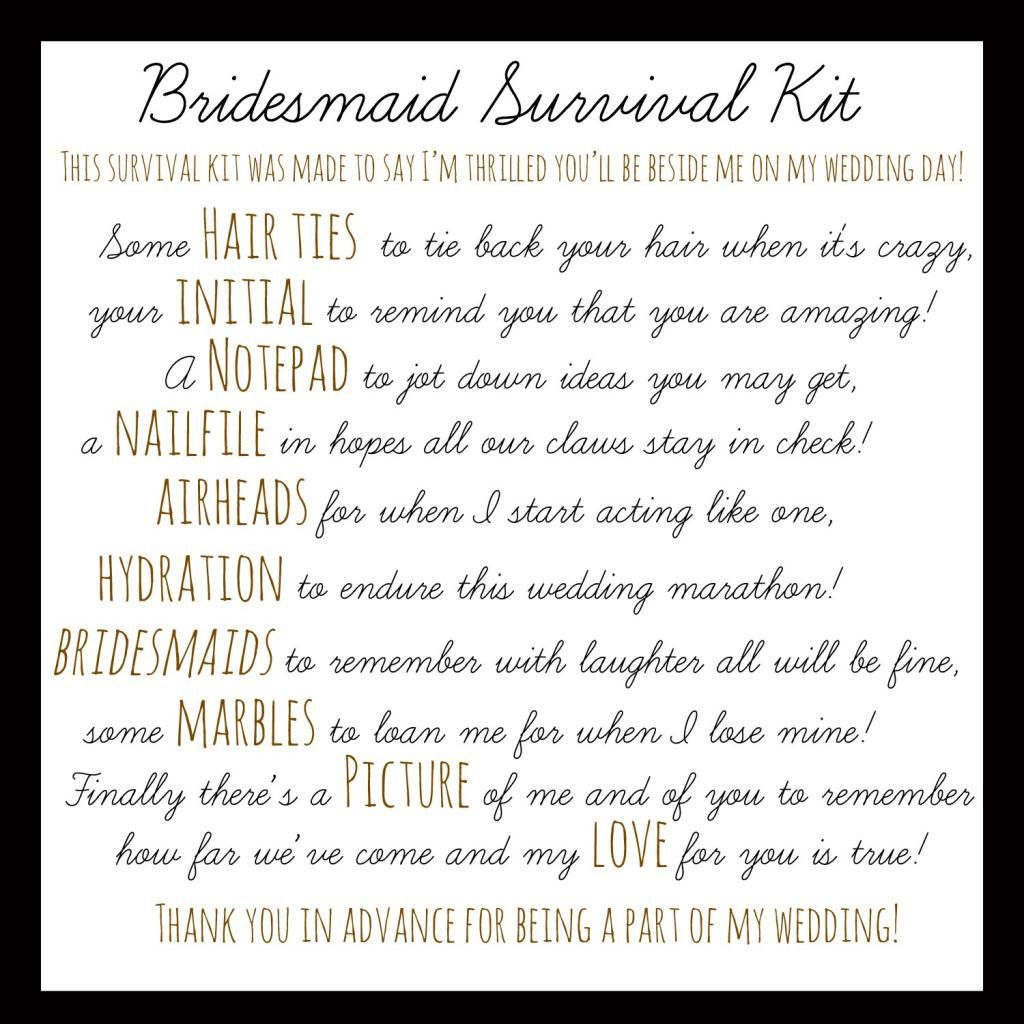 Will You Be My Bridesmaid Survival Kit Poem Free Download