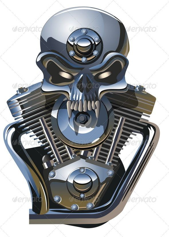metall skull with engine logos cartoon and train