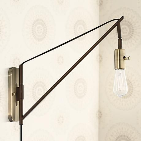 Hobson Bronze And Antique Brass 17 High Wall Sconce With Images Wall Lamp Design Swing Arm Wall Lamps Sconces