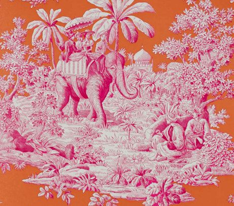 Manuel Canovas Bengale Pink And Orange Toile Wallpaper Remnant