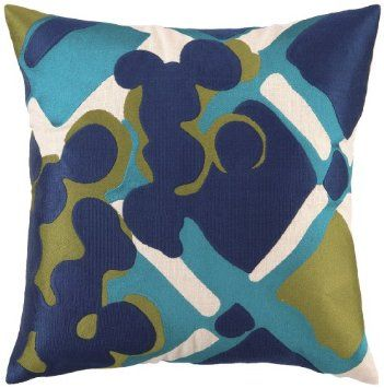 Amazon.com: Trina Turk Down-Filled Painterly Plaid Pillow, Blue: Home & Kitchen