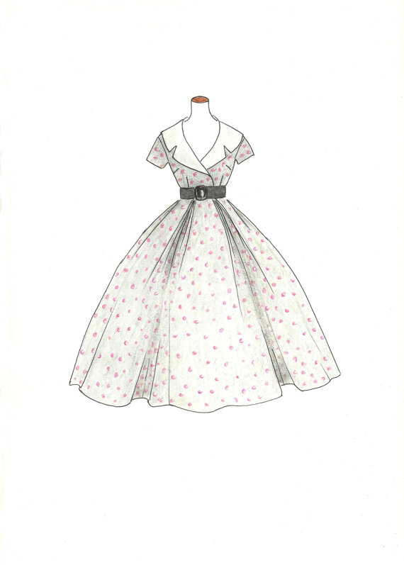 1950s dresses drawing