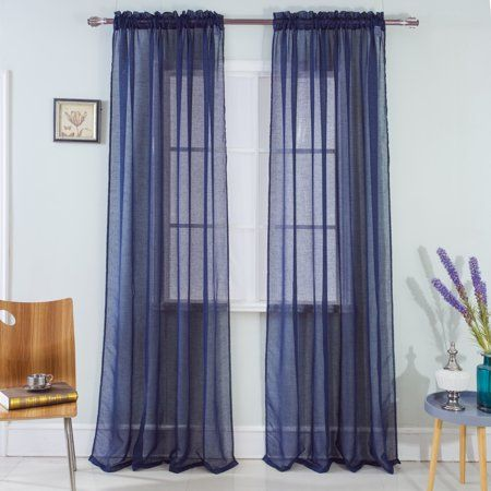 Astro Textured 54 X 90 In Rod Pocket Curtain Panel Navy In 2020