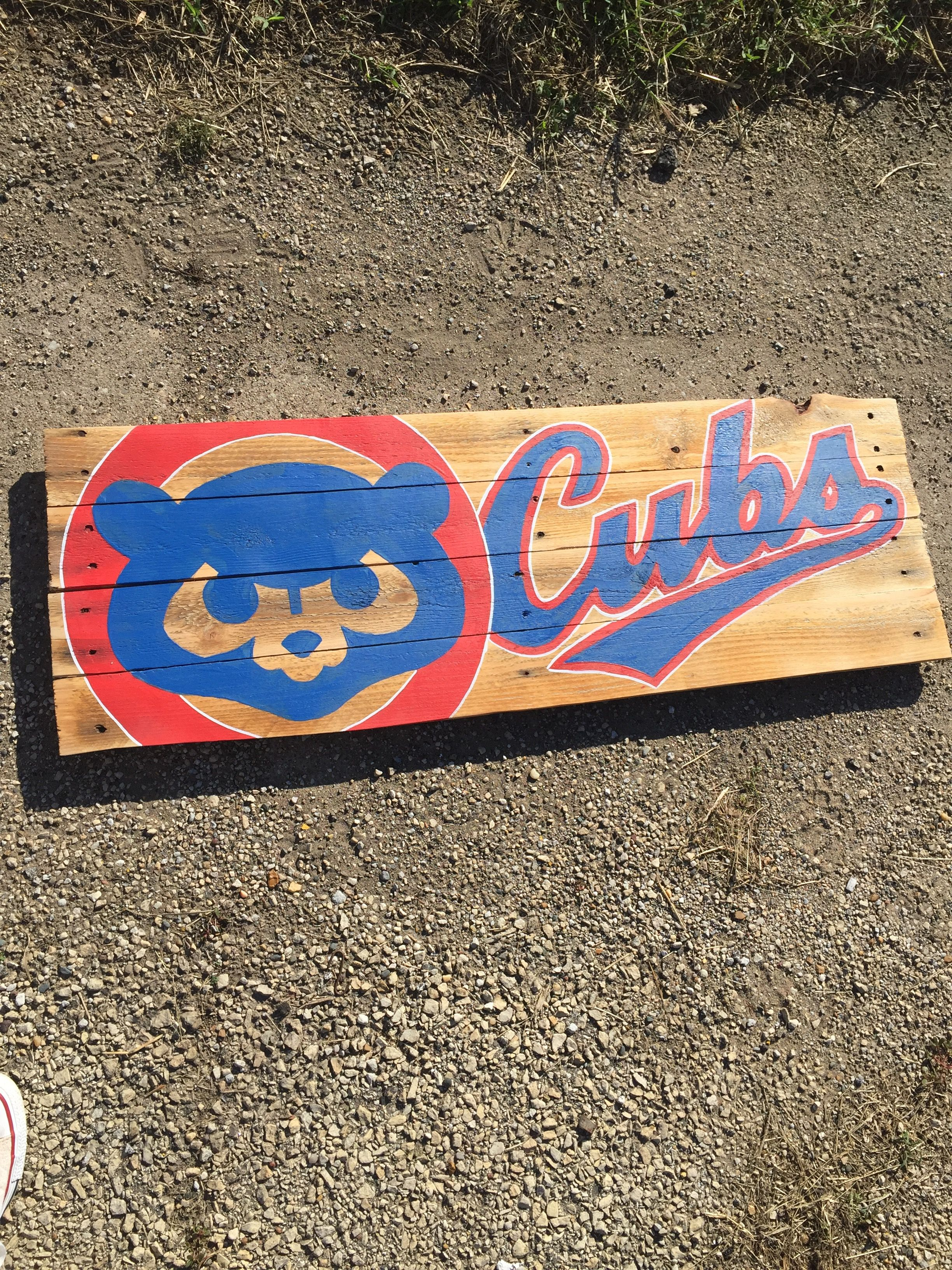 Chicago Cubs Reclaimed Wood Pallet Sign Chicago Cubs Baseball