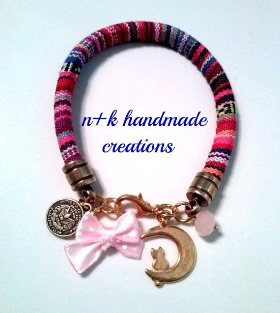 Handmade ethnic bracelet with pin polka dot bow by thenkcreations