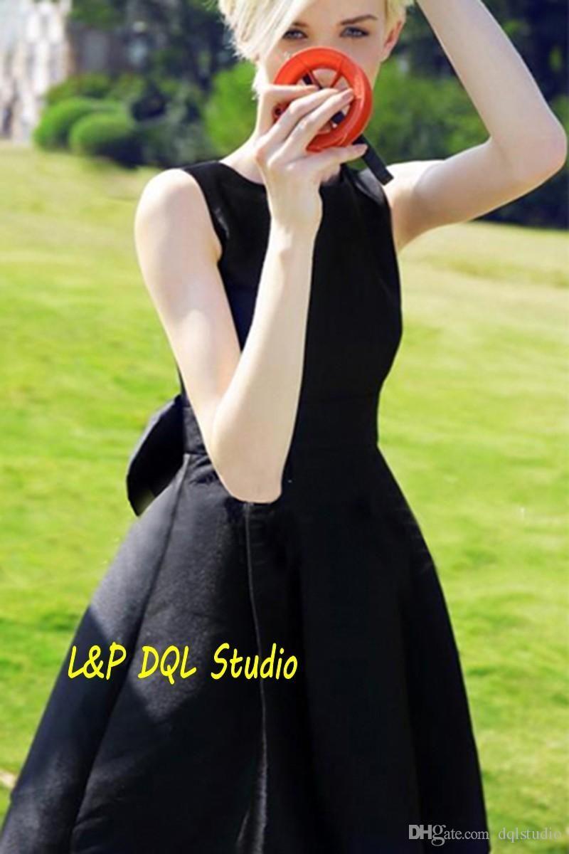 Vintage black party dresses short summer satin party dresses