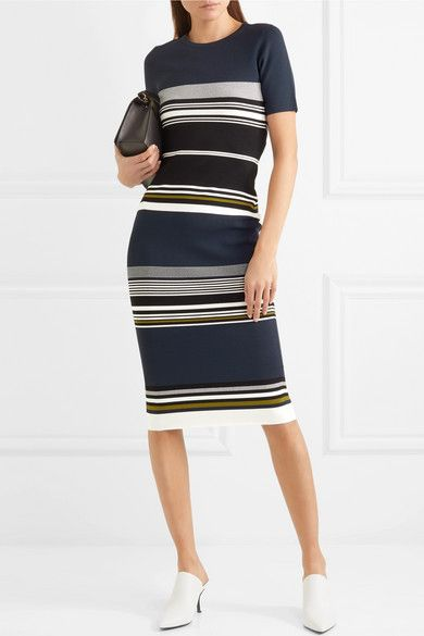 Striped Stretch-knit Midi Dress - Navy Diane Von F 5so0AK6