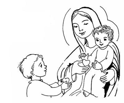 Give your heart to Jesus through Mary Catholic Coloring