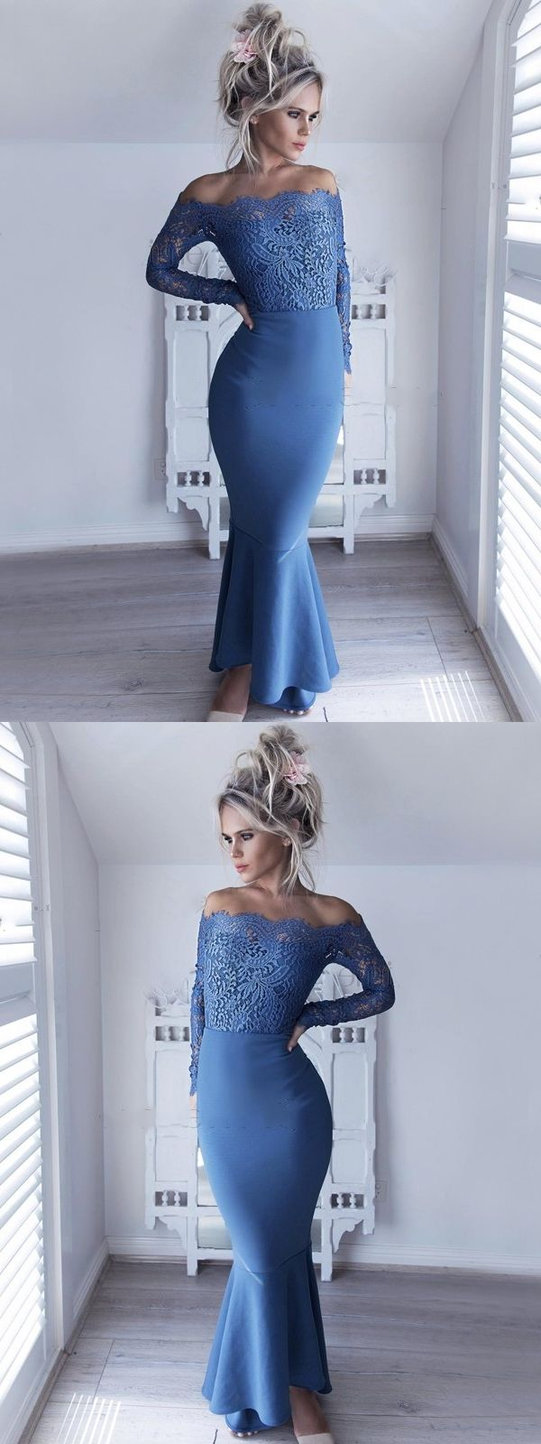 Mermaid offtheshoulder long sleeves high low blue prom dress with