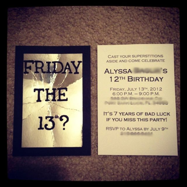 Friday the 13th birthday invitations diy pinterest for 13 table superstition