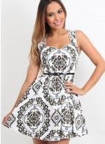 Black & White Sweetheart Neck Paisley Print Dress with Belt