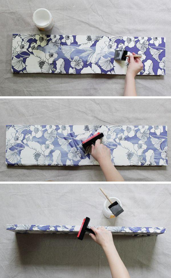 How To Decoupage Fabric Onto Shelves Mod Podge Fabric