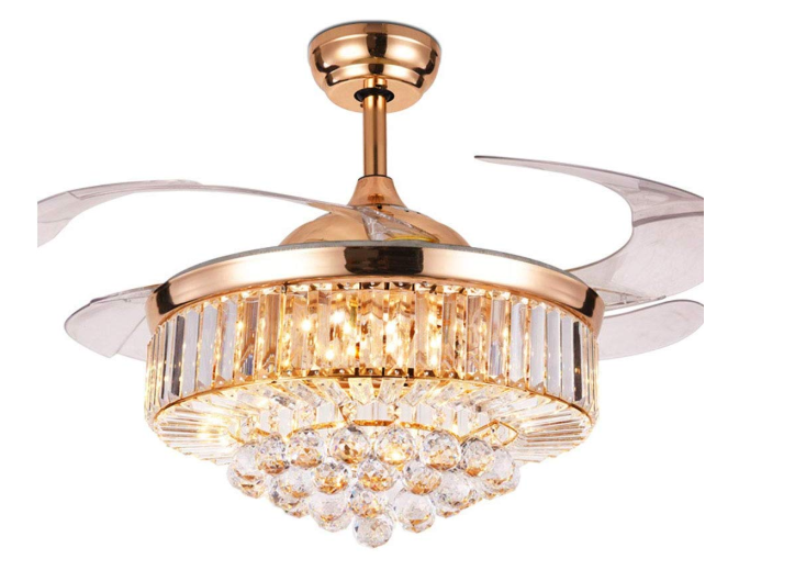 Fan Crystal Ceiling Led Amazon Modern Design Modern Chandelier Ceiling Fan With 4 Pieces Acrylic Blades Ceiling Fan With Light Chandelier Fan Fan Light