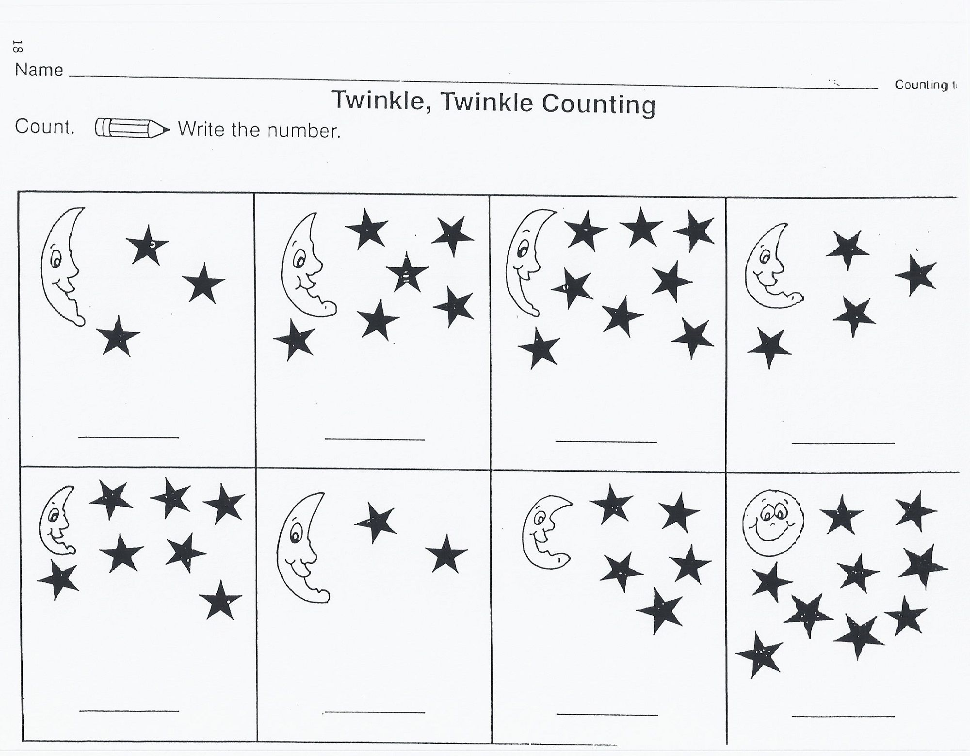 Free Math Printable Worksheets On Stars Learning How To Read