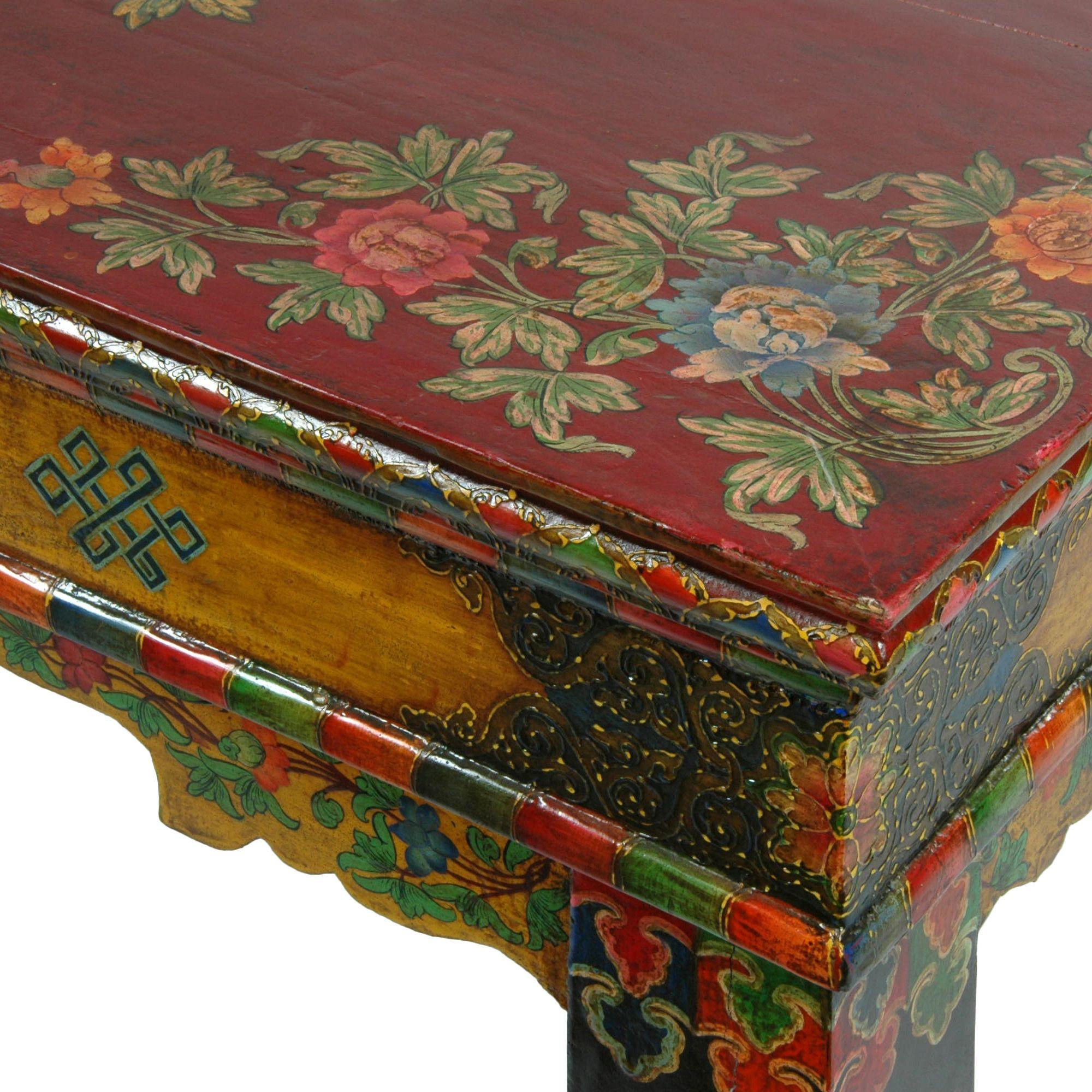 Reproduction Of A Traditional Tibetan Prayer Table Tibetan Rugs, Bhutan,  Furniture Design, Painted