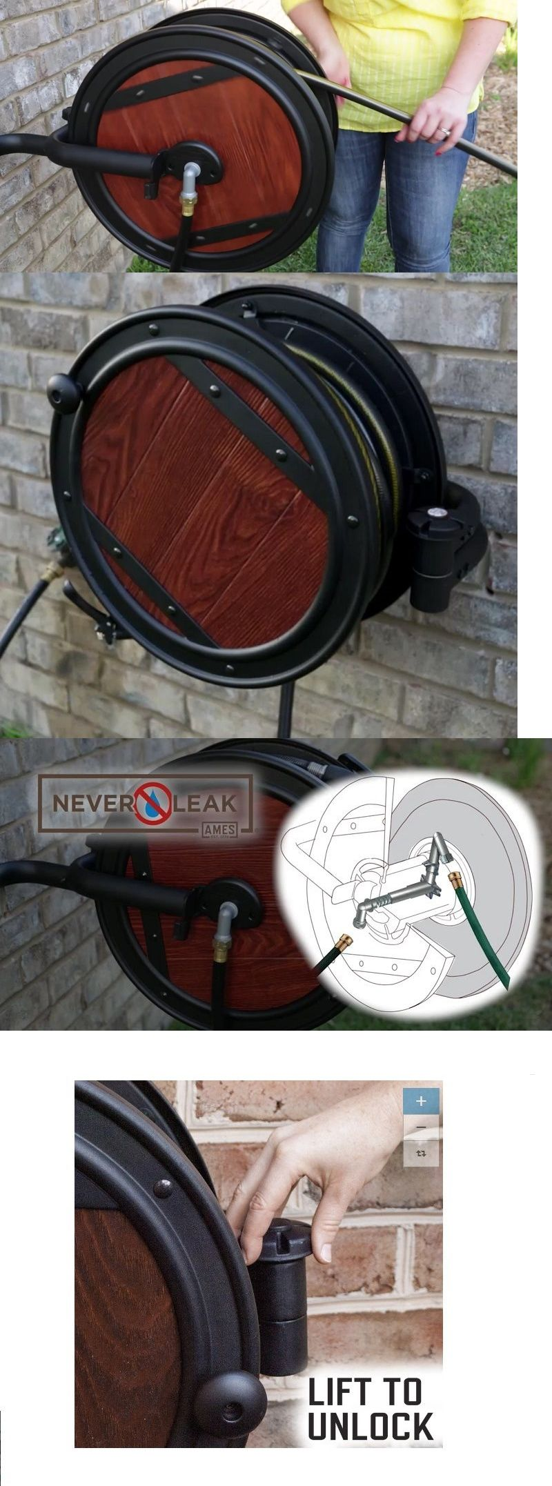 Hose Reels And Storage 46435: Garden Hose Reel Water Ames Wall Mount Metal  Swivel 100
