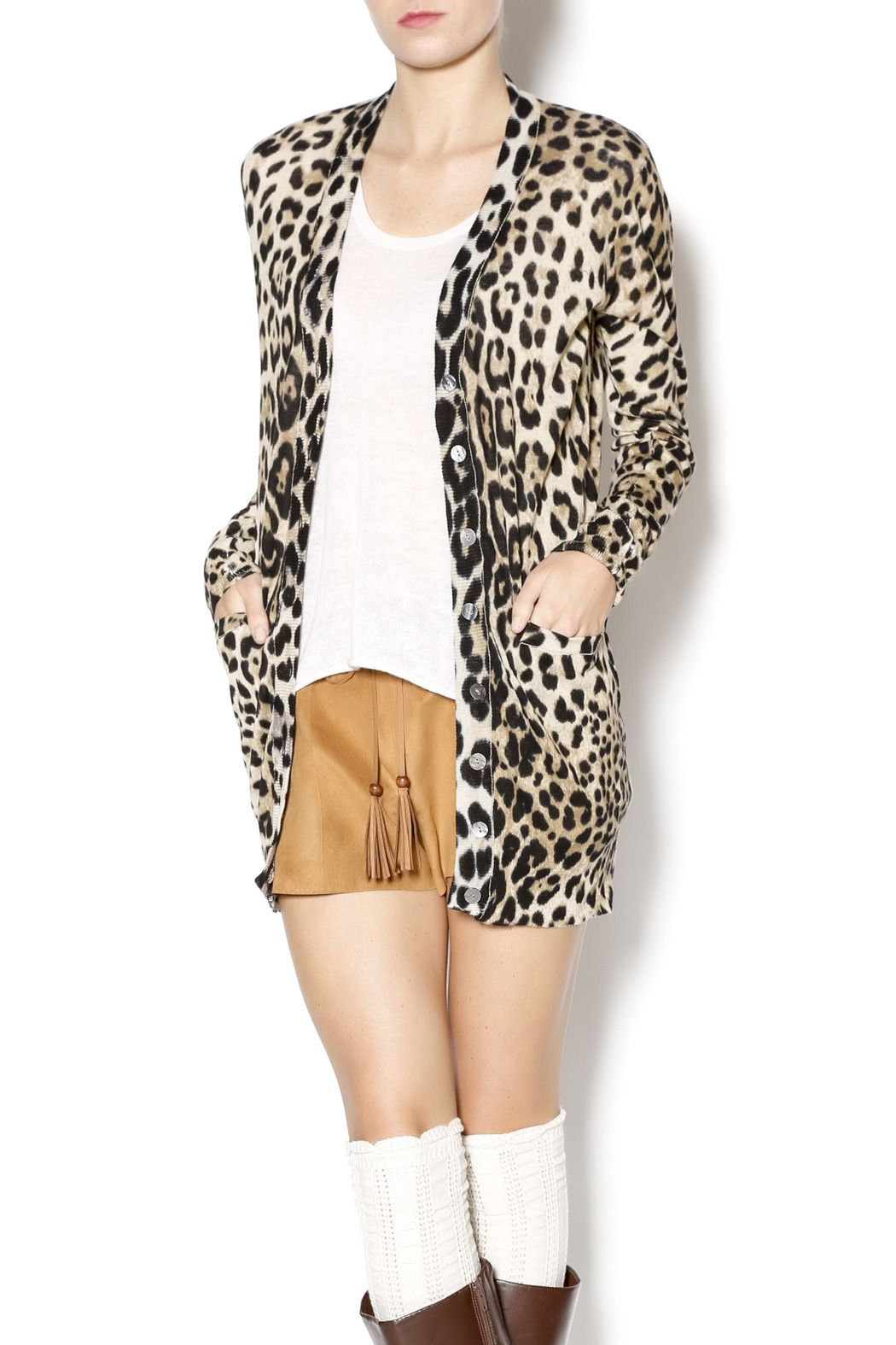 Leopard Print Cardigan Sweater Jones New York Womens Size M Long ...