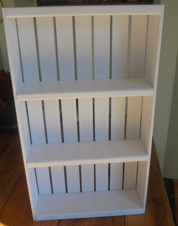 Wooden Crate Style Spice Rack or Knick Knack Display Wall Hanging-White #knickknack