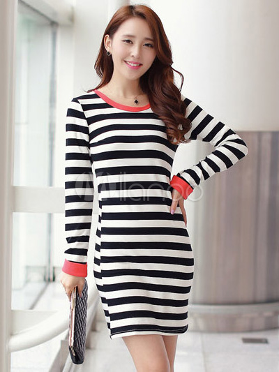 b12bb39ffbfd3 Stripe Split Color Crewneck Bow Cotton Women s Short Dress   milanoo ...