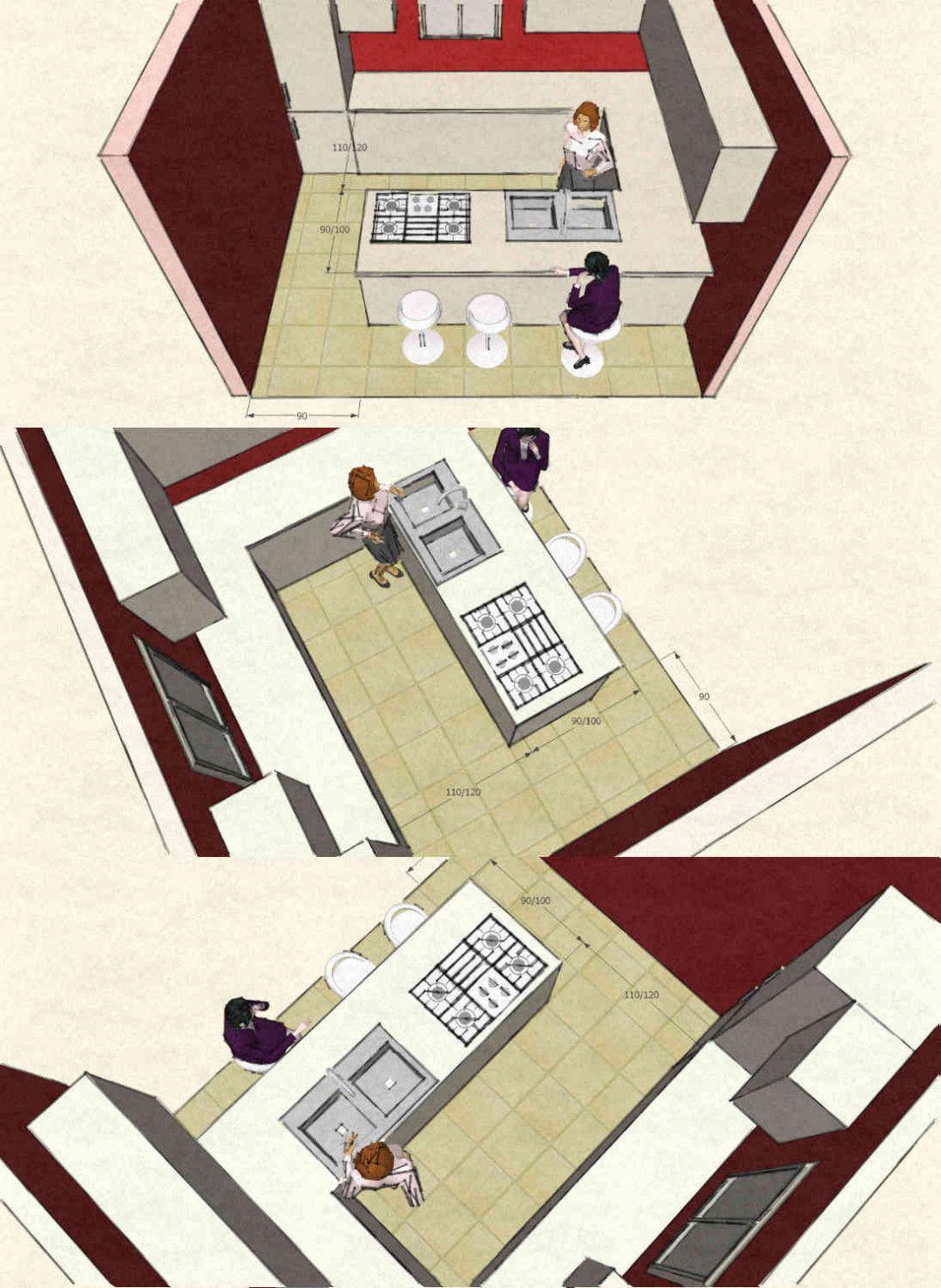 Misure Standard Piano Cottura Cucina cucina con isola o penisola: immagini 3d con dimensioni (con