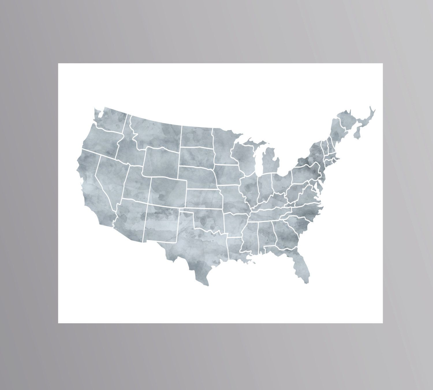 Grey World Map Gray World Map Large World Map Instant Download - Us map poster 24x36