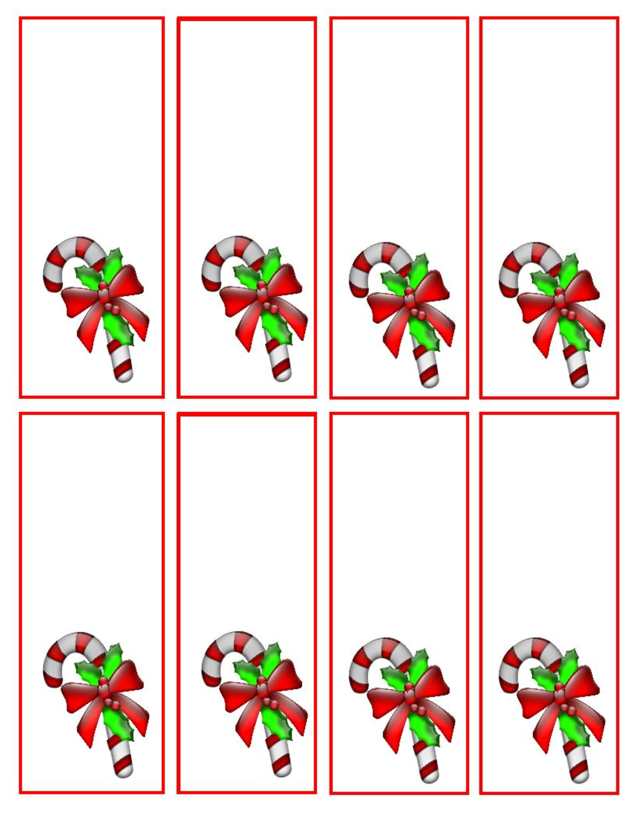 Free Printable Christmas Candy Cane Bookmarks