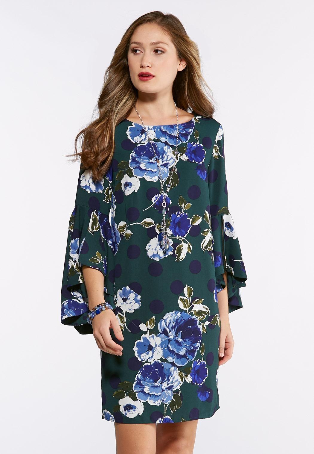 8b8503a73d4 Plus Size Split Bell Sleeve Floral Dot Dress Plus Sizes Cato Fashions