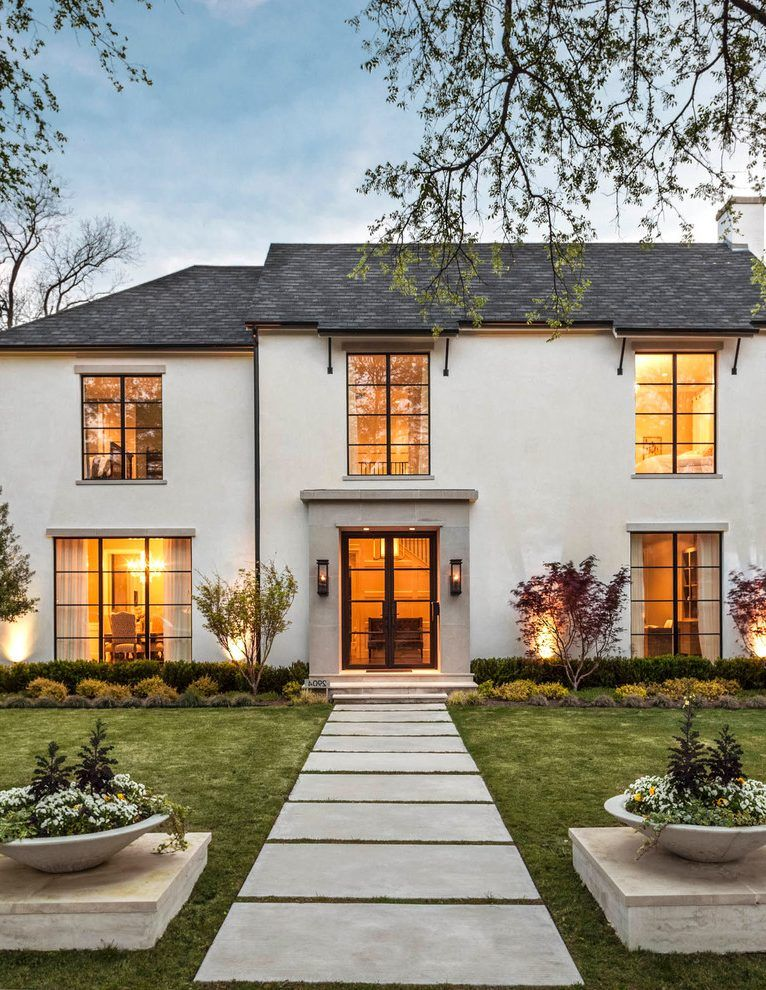 French Exterior: Beige Stucco Exterior Exterior Transitional With Gas