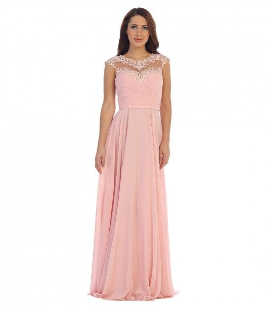 This is a simple yet adorable light pink sweetheart long dress with ...