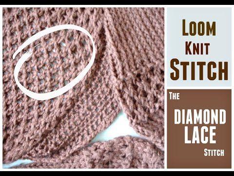 Diamond Lace Stitch - FREE Loom Knit Pattern and Video Tutorial. Stitch is ma...