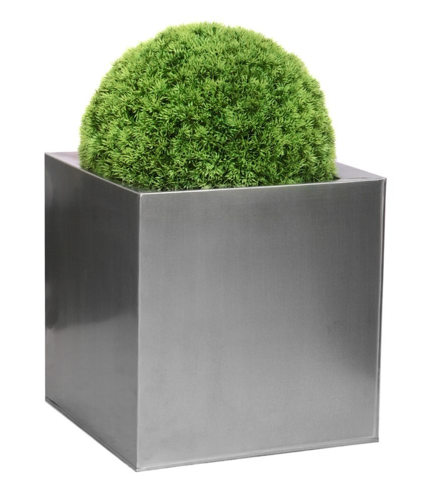 Zinc Galvanised Silver Cube Planter 2 Sizes Indoor Outdoor Plant