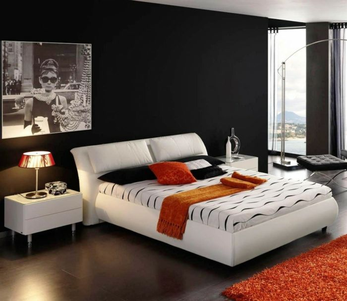 wanfarben ideen wohnideen schlafzimmer dunkle w nde oranger teppich para casita pinterest. Black Bedroom Furniture Sets. Home Design Ideas