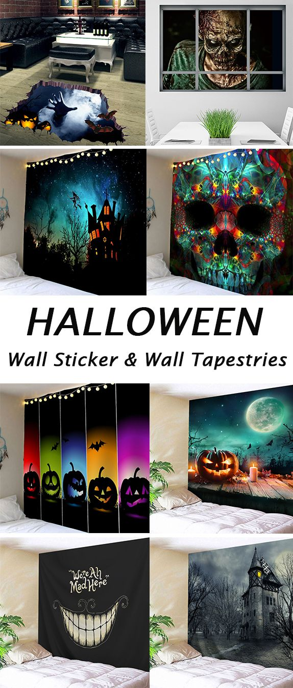 halloween decor ideas for the home:Wall Stickers and wall tapestries #pumkinpaintideas