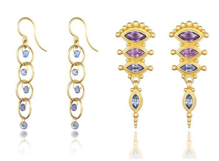 Reinstein Ross Gemstone Earrings In Gold With Colorful Shires
