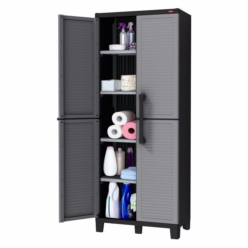 Storage Cabinet Outdoor Indoor Plastic Patio Cupboard Garage Closet ...